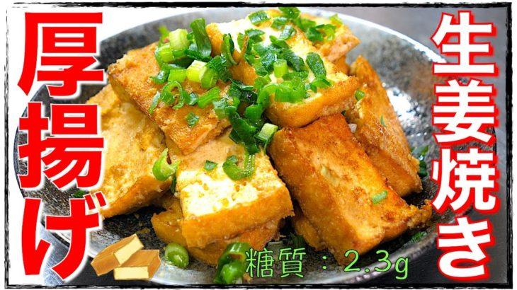 【糖質制限レシピ】簡単おつまみ!「厚揚げの生姜焼き」の作り方【低糖質】Low Carb Athuage Recipe