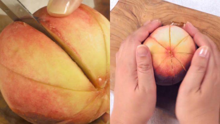 【レシピ】簡単にできる桃のむき方&切り方|The easy way of peeling and cutting peaches.