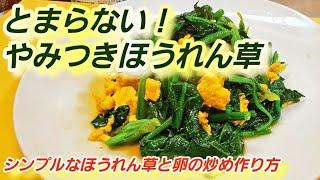 【やみつきホウレンソウ】とまらない!ほうれん草と卵の炒め 覚えておきたい定番レシピ!シンプルな簡単おかず