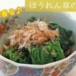 [レシピ動画] 優しい味の【ほうれん草のお浸し】お出汁たっぷり浸して上品な味付けに♪ 料理 レシピ 簡単