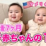 【双子育児】生後7ヶ月の双子赤ちゃんの1日ルーティン♡ アメリカ子育て|3児ママ|国際結婚
