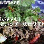 簡単おいしい料理レシピ【牛肉とパクチーのピリ辛炒め】元渋谷カフェスタッフが作る