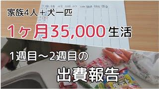 【節約生活】家族4人犬一匹1ヶ月35,000円生活の週予算出費のご報告|家計簿|節約|大赤字