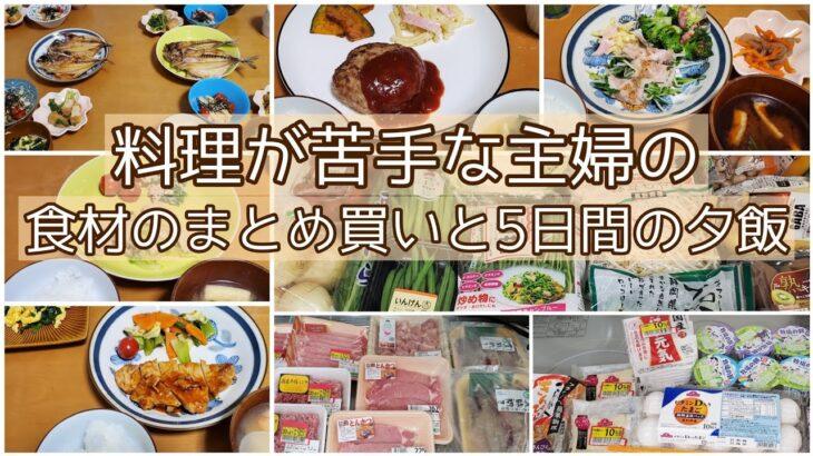まとめ買いで節約/スーパー購入品と5日間の夕飯/4人家族/料理苦手主婦