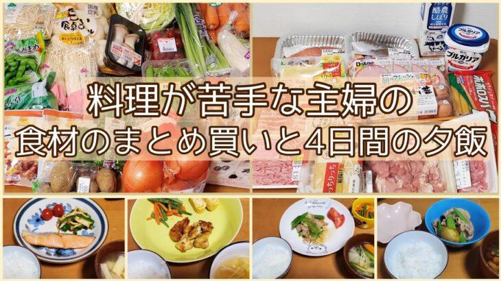 まとめ買いで節約/スーパー購入品と4日分の夕飯/4人家族/料理苦手主婦