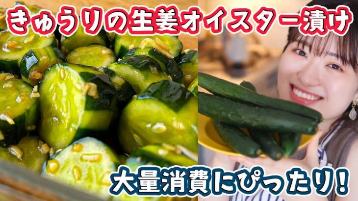 【きゅうりレシピに困ったら】超簡単なのにお箸がとまらない…!生姜オイスター漬けの作り方【大量消費】